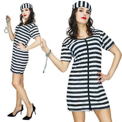 Female Inmate Halloween Costumes (Ladies Jailbird Cutie Prisoner Convict Cell Inmate Fancy Dress Costume Prison)