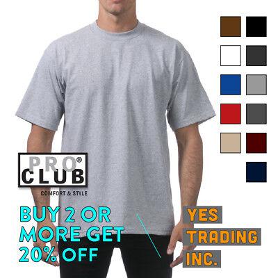 PROCLUB PRO CLUB MENS PLAIN T SHIRT HEAVYWEIGHT SHIRTS SHORT SLEEVE TEE BIG TALL Big And Tall T-shirt