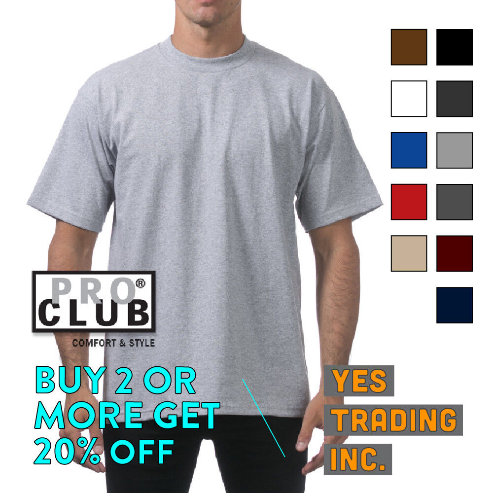 PROCLUB PRO CLUB MENS PLAIN T SHIRT HEAVYWEIGHT SHIRTS SHORT
