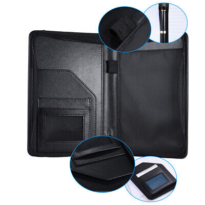 A5 Business Portfolio Folder Document Case Organizer Pu Leather With Card Holder