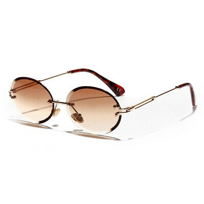 Mens Frameless Hip Hop Vintage Round Cut Brown Tint 90's Gold Frame (Frameless Shades)
