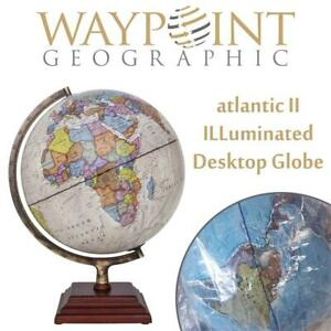 NEW Waypoint geographic atlantic II ILLuminated Desktop Globe, 12 Condtion: New