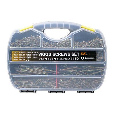 1150pcswood Screws Phillips Yellow Zinc Drywall Chipboard Screws Assortment Kit