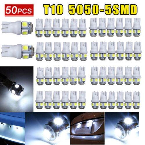 50X Super White T10 RV Camper 5-SMD 5050 Car LED Light Bulbs 12V 194 921 906
