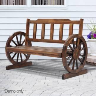 Fir Wood 2 Seater Bench with Wheel Armrest