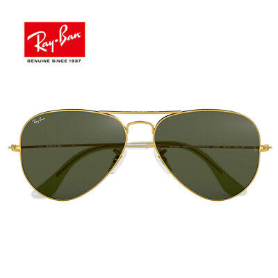 Ray Ban RB3025 Blackish Green Sunglasses Gold Pilot Crystal Green Lens Unisex