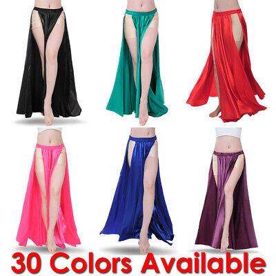 Satin Panel Skirt Belly Dance Tribal Side Slit Costume Jupe Flamenco Women Petal Belly Dance Satin
