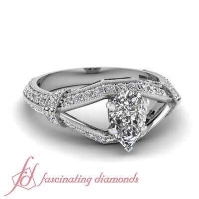 Split Shank Round Diamond Engagement Ring With Pear Shaped In Center GIA 1.20 Ct