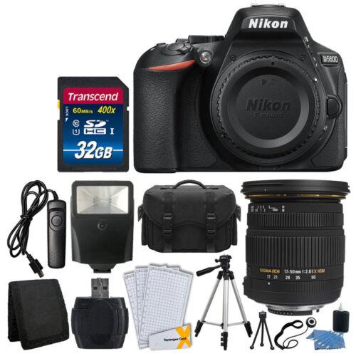 Nikon D5600 Digital SLR Camera + Sigma 17-50mm Lens + 32GB C