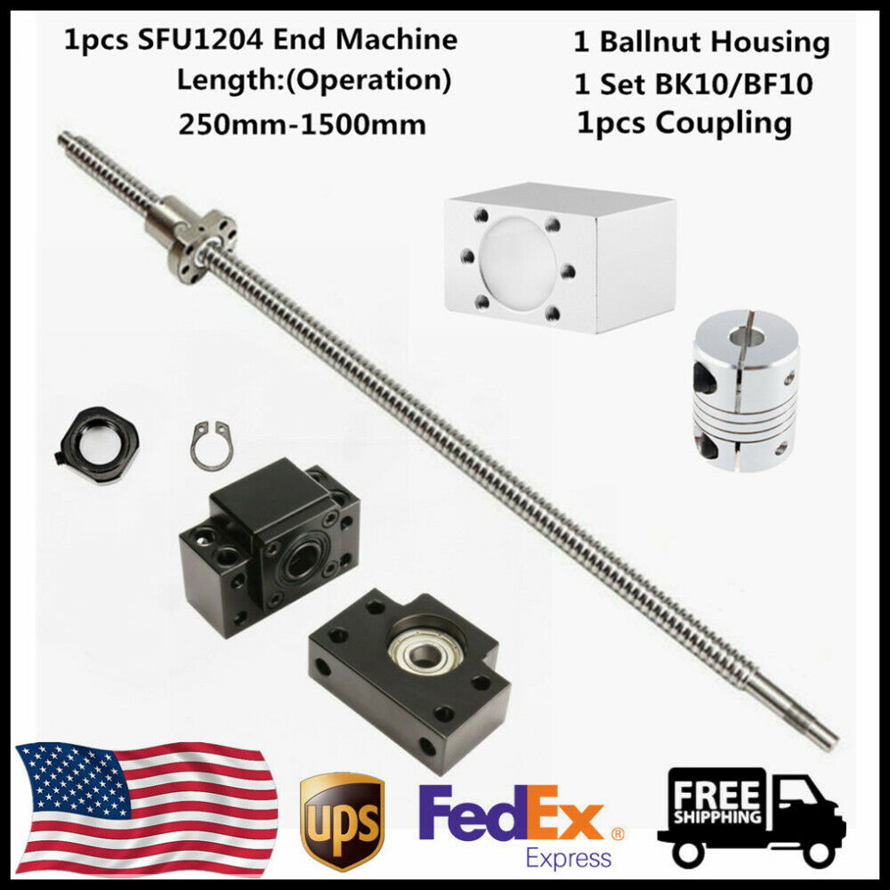 1 x Shaft Coupler /& 1 Set BK10//BF10 Ball Screw SFU1204-250MM End Machine CNC