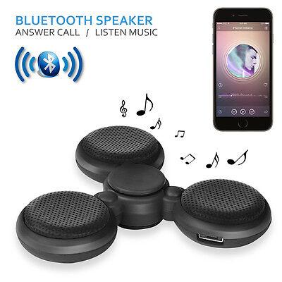 LED Bluetooth Tri Fidget Hand Spinner Music Speaker Desk Toy Gyro EDC-Black