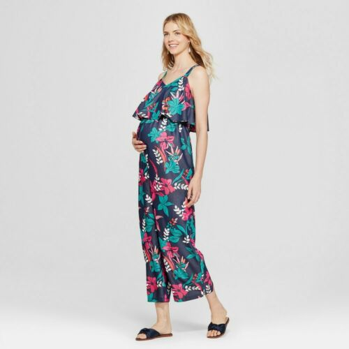 Isabel Maternity by Ingrid Navy Floral Flounce Bodice Sleeveless Jumpsuit, XXL
