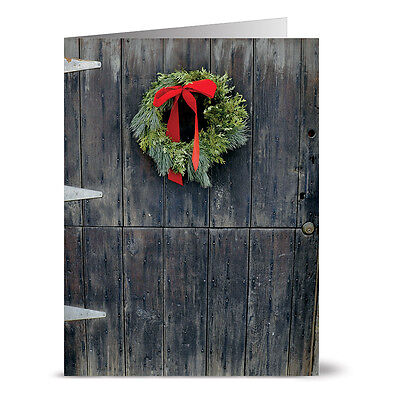 24 Holiday Note Cards - Rustic Wreath - Red -
