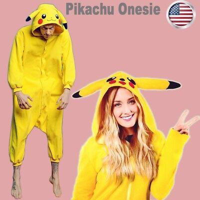 Unisex Adult Kid Pikachu Kigurumi Pajamas Onesi Cosplay Costume Animal Sleepwear