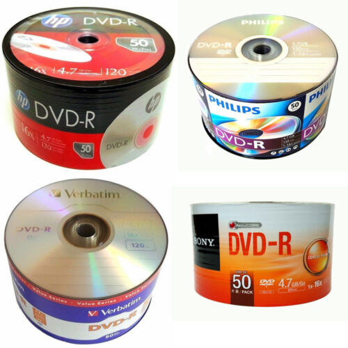 50 Pack DVD-R Branded Logo Blank Recordable Disc + 50 Paper