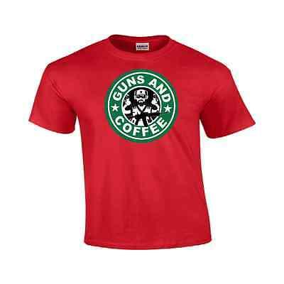 Guns and Coffee Shirt Pro Guns Starbucks Funny T-Shirt Cheap Menes #192](Cheap Funny)