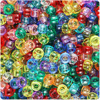 Mixed Pony Beads - 1000 Mixed Transparent 7mm Mini Barrel Plastic Pony Beads Made in the USA
