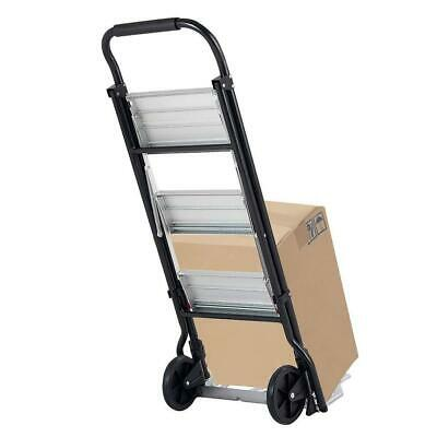 Durable 2 In1 3-step Ladder And Hand Truck Trolley Cart Folding With Two Wheels
