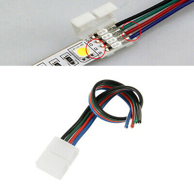 10Pcs 4pin 8mm LED RGB Strip Wire Connector Adapter Cable Clip Strip Connector - 8 Pin Wire