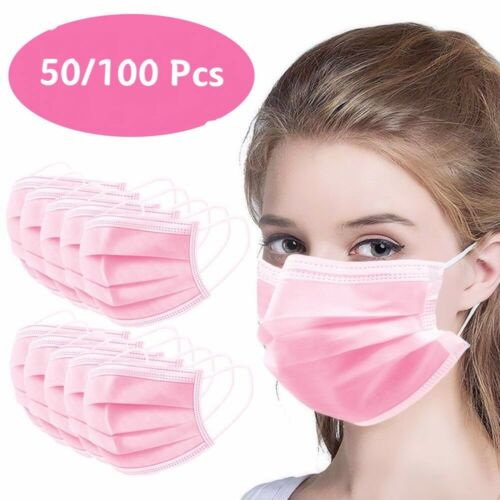 50 / 100 PCS Pink Face Mask Mouth & Nose Protector Respirator Masks USA Seller