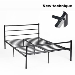 4FT6 Metal Bed Frame in Black Double Bedstead Stylish Sturdy Easy Assemble
