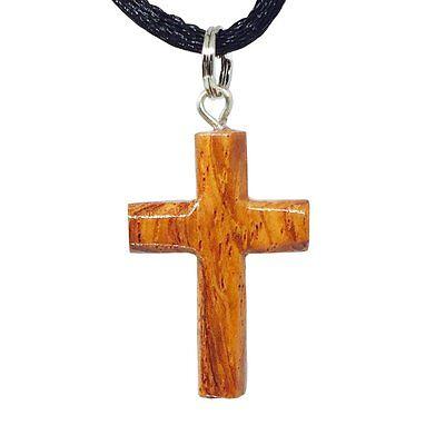 Hawaiian Jewelry - Hawaiian Jewelry Small Koa Wood Cross Pendant Necklace