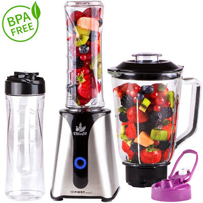 2 in 1 Smoothie Maker mit Standmixer, BPA frei Standmixer Mixer Milchshaker 350W