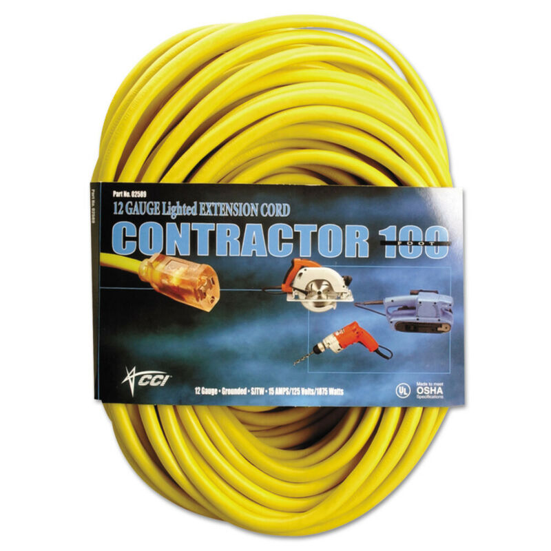 Coleman Cable 100 ft. Vinyl 15 Amp Outdoor Extension Cord (Yellow)  25890002 New