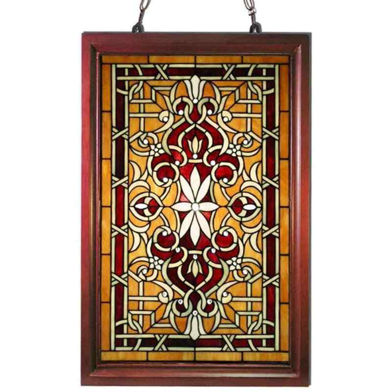 Tiffany Style Stained Glass Window Panel with Wood Frame