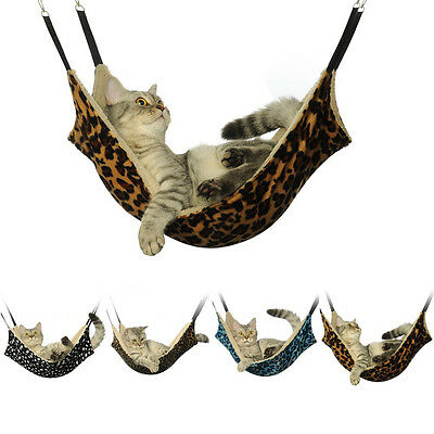 Cat Hammock Leopard Fur Bed Animal Hanging Cat Cage Comforter Ferret Pet 53*38CM ()