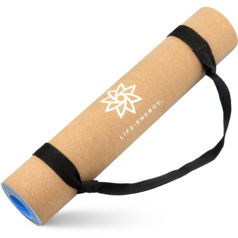 5mm EkoSmart Cork Yoga Mat non-slip with Carry Strap, TPE, Exercise, Fitness