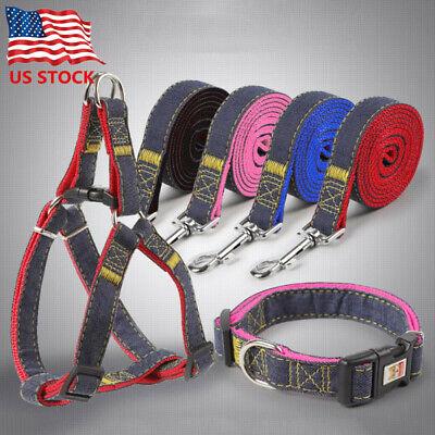 Pet Big Dog Harness Collar Set Wear-resisting Denim Dog Leash Rope Chest -