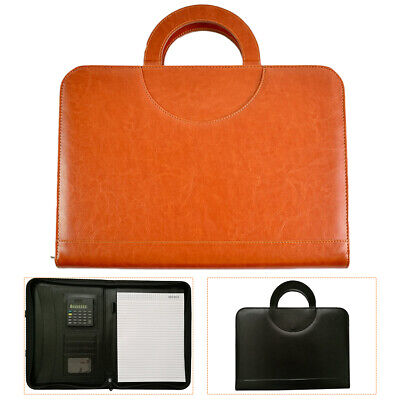 A4 Zipped Conference Business Leather Resume Organizer Padfolio Portfolio Folder