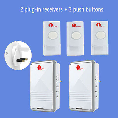 Wireless 100M Range Plug-in Visitor Door Bell Chime 2 Receivers Sync 3 Bell Push