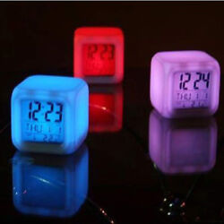 Digital Alarm Thermometer Night Glowing Cube 7 Colors Clock LED Change cy
