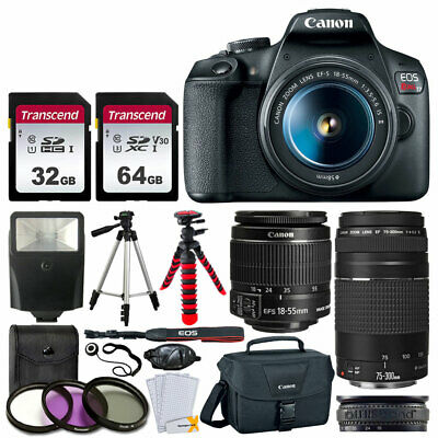 Canon EOS Rebel T7 Camera + 18-55mm & 75-300mm Lens + 96gb + Bag Tripod Bundle