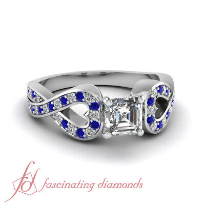1.20 Ct Blue Sapphire And Diamond Pave Set Engagement Ring With Asscher Cut GIA