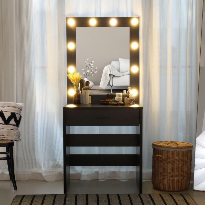 Hollywood Vanity Makeup Dressing Table Set With 10Led Light Mirror Wood Desk