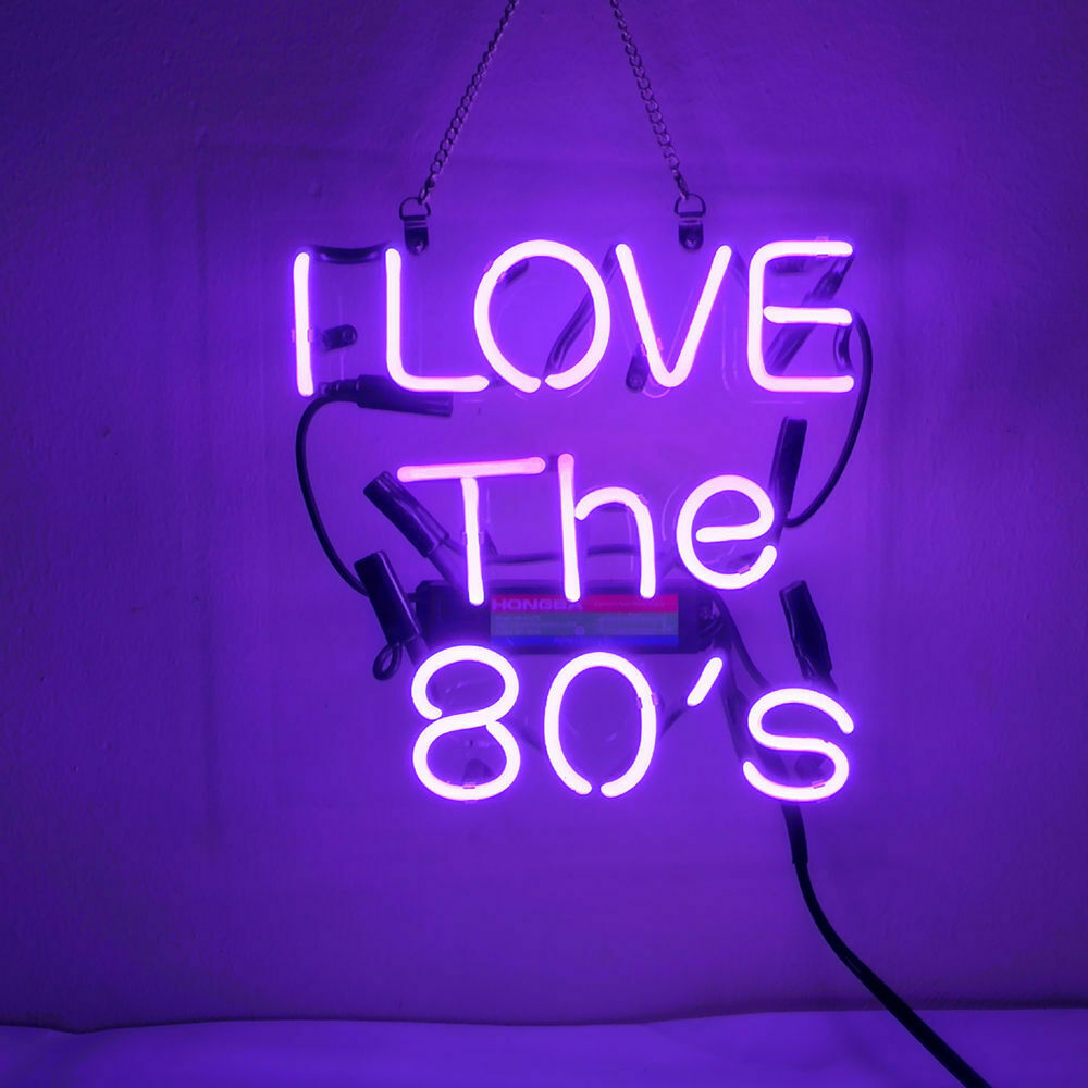 "I Love The 80'S Purple Neon Sign Beer Bar Decor 14""x10"" Ligh"