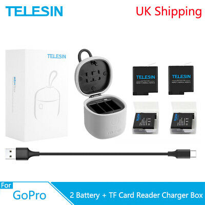 TELESIN 2x Battery 3 Way Charger Box TF Card Reader For Gopro Hero 8 7 6 5 Black