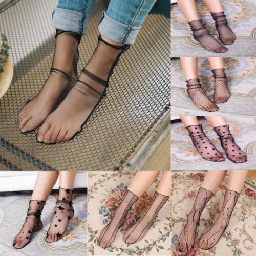 Fashion Women Transparent Ultrathin Sheer Lace Mesh Ankle Ho