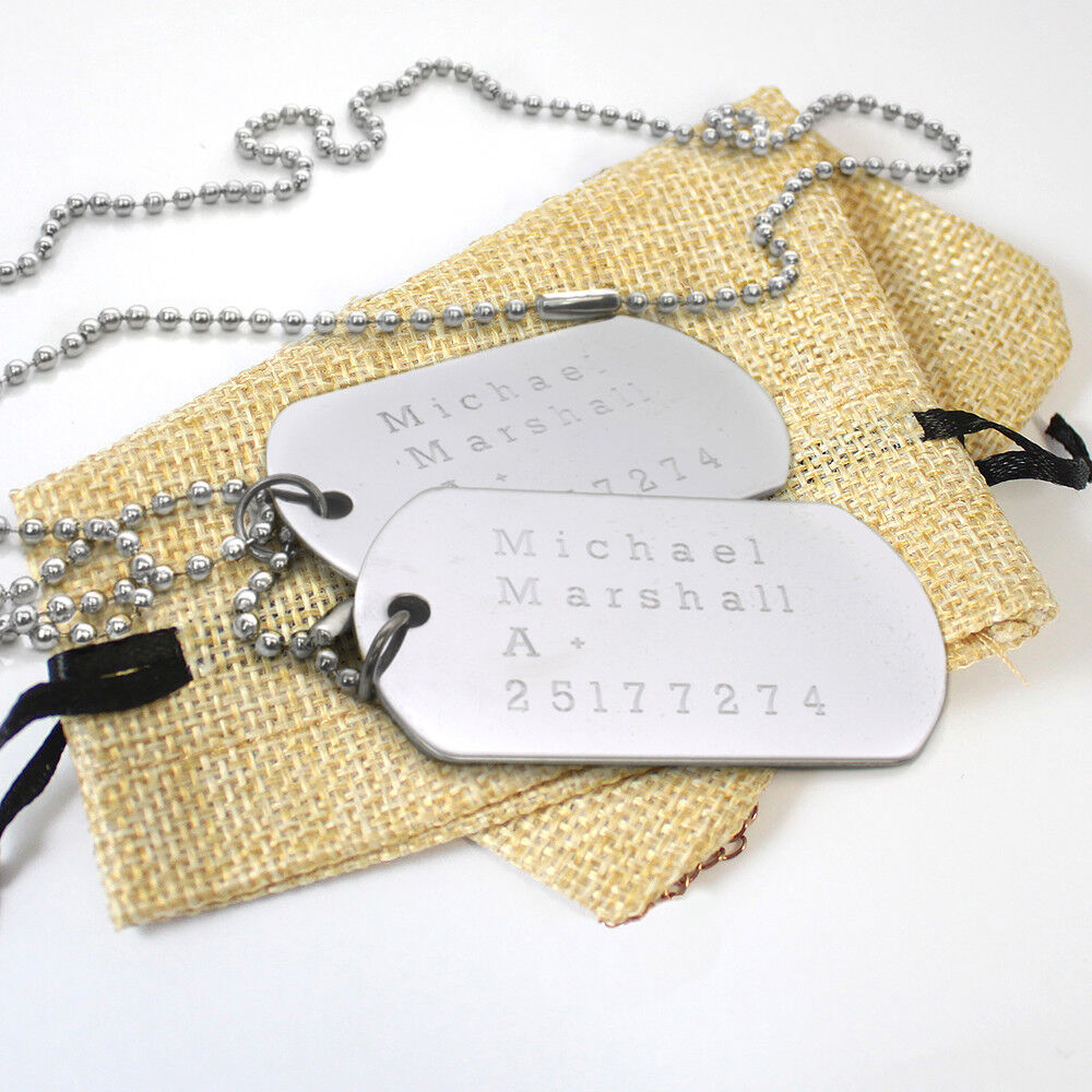 Personalised Engraved Text Stainless Steel Army Dog Tags