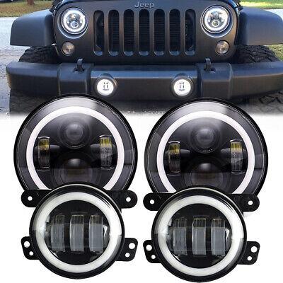 For Jeep Wrangler JK 07-17 Halo LED Headlight + Halo LED DRL Fog Light Combo Kit (Halo Fog Light Kit)
