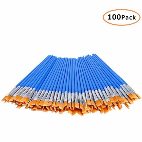 100Pcs Flat Paint Brushes Small Brush Bulk for Detail Painting Nylon Hair Brush