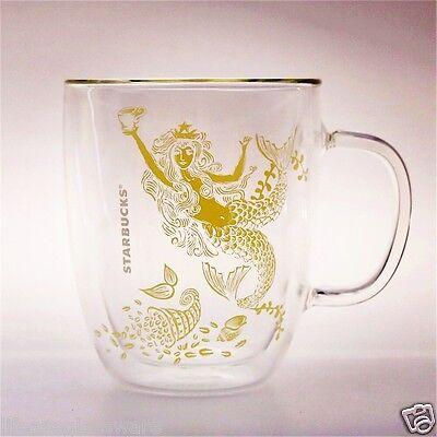 16 Oz Mermaid Cup STARBUCKS Coffee Cup Double Wall Insulated Clear Glass Tea Mug
