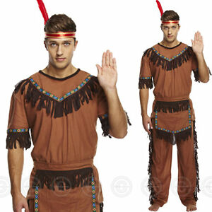 ADULT MENS RED INDIAN FANCY DRESS OUTFIT COSTUME CHIEF NATIVE COWBOY MAN BRAVE Z