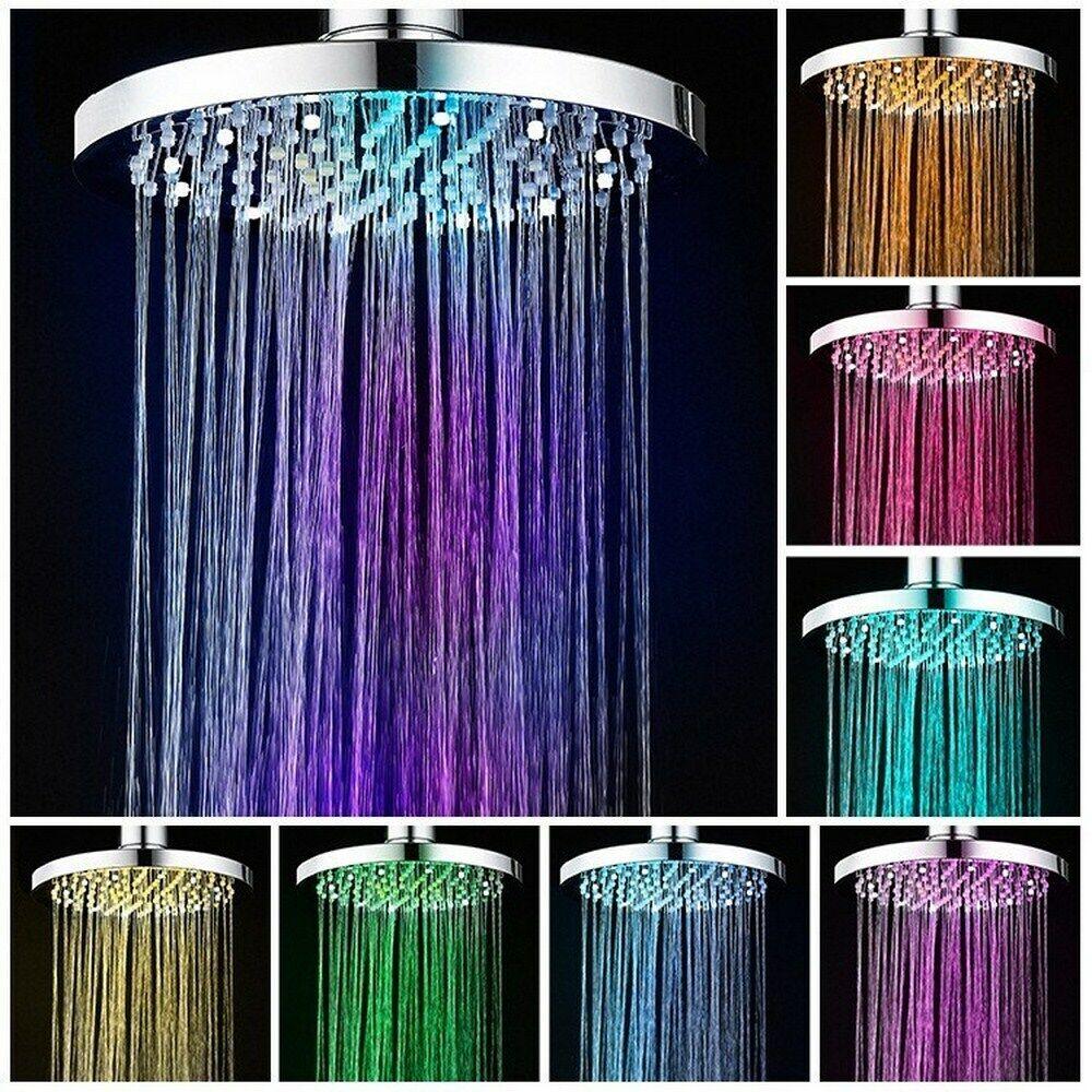 8″ Round LED Light Rain Shower Head 7 Color Changing Rainfall for Bathroom Bath