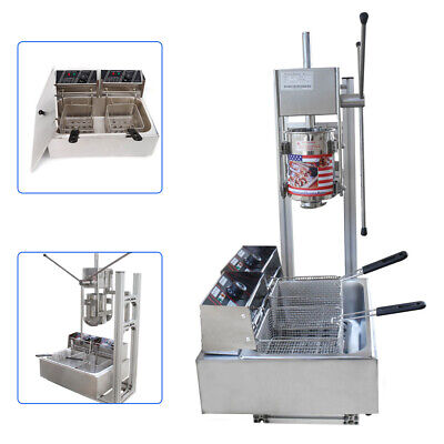 5 Nozzles 3l Manual Spanish Donut Churros Maker Machine W 12l Fryer Filler