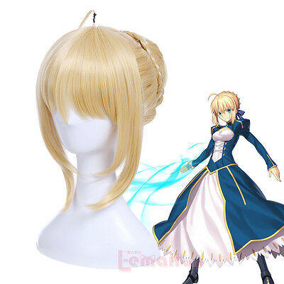 Fate Stay Night Arturia Pendragon Saber Wig Blonde Styled Updo Cosplay Full Wigs