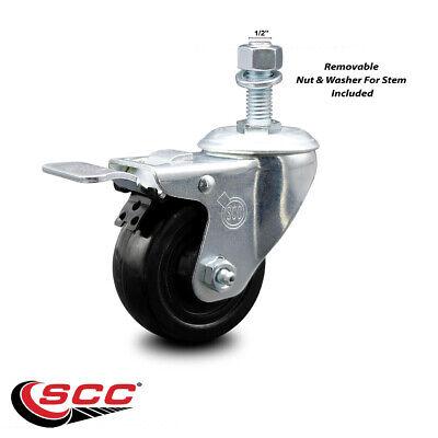 Hard Rubber Swivel Ts Caster W3 Wheel 12 Stem Wtotal Lock Brake